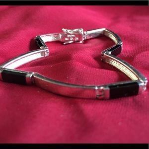 Awesome Sterling Silver & Onyx Bracelet